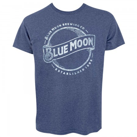 Blue Moon Distressed Line Logo Men's Heather Blue T-Shirt
