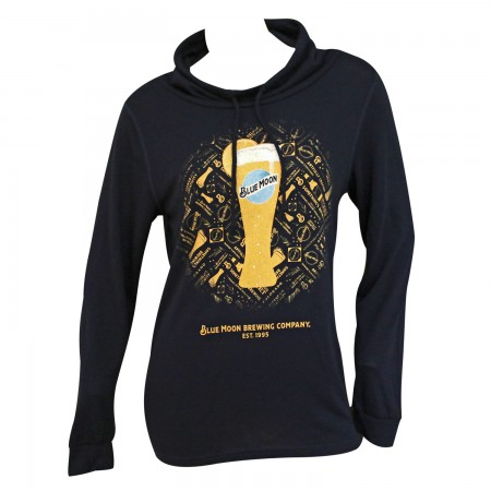 Blue Moon Women's Glass High Neck Blue Sweatshirt