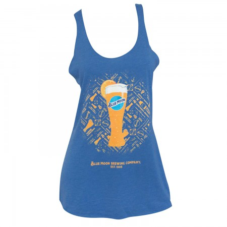 Blue Moon Beer Glass Women's Racerback Blue Tank Top