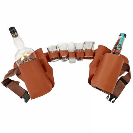 Liquor Holsters with Shot Glass Holder Brown Belt