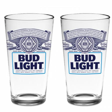 Bud Light Classic Logo 2-Pack Pint Glass Set