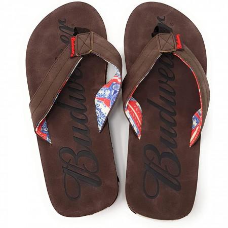Budweiser Script Logo Men's Flip Flop Sandals