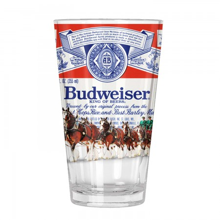 Budweiser Clydesdale Beer Label Pint Glass