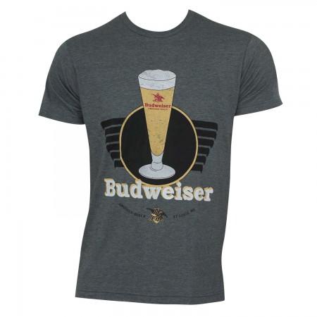 Budweiser Men's Grey Vintage T-Shirt
