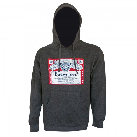 Budweiser Men's Dark Grey Bottle Label Hoodie
