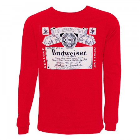 Budweiser Label Men's Red Long Sleeve T-Shirt