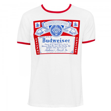 Budweiser Men's White Ringer T-Shirt