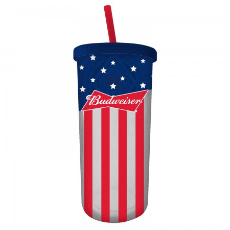 Budweiser Stars And Stripes Cup With Lid And Straw