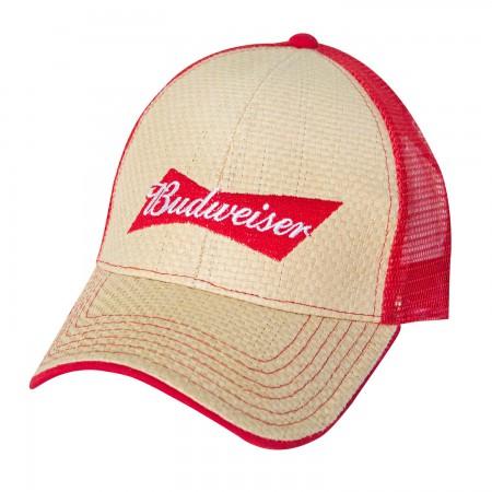 Budweiser Beige Straw Trucker Hat