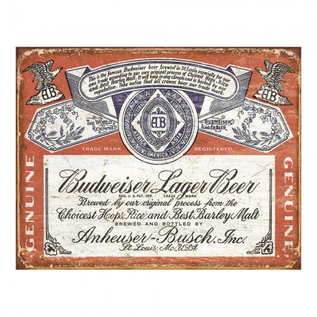 Budweiser Label Retro Tin Sign