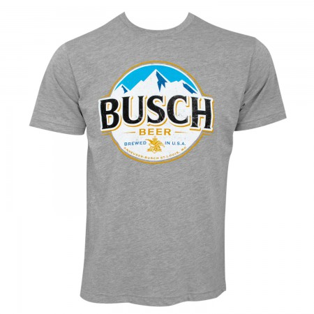 Busch Men's Grey Round Logo T-Shirt