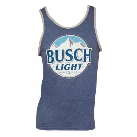 Busch Light Logo Mens Ringer Blue Tank Top