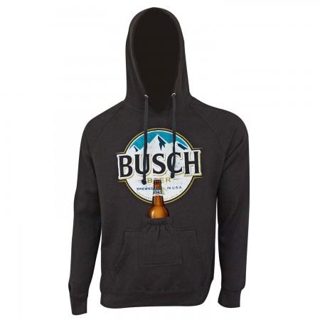 Busch Round Logo Beer Pouch Black Hoodie