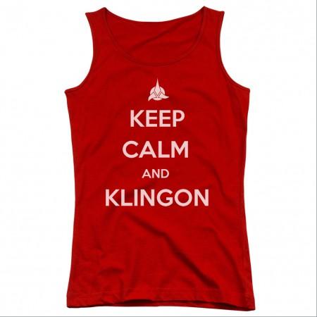 Star Trek Keep Calm And Klingon Red Juniors Tank Top