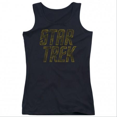 Star Trek Distressed Logo Black Juniors Tank Top