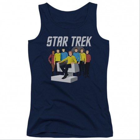 Star Trek Vector Crew Blue Juniors Tank Top