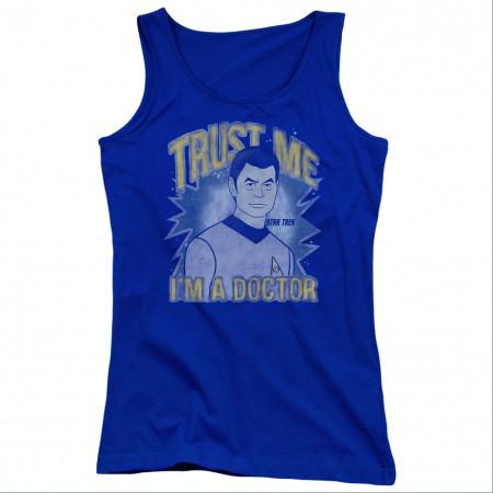 Star Trek Trust Me Doctor Blue Juniors Tank Top