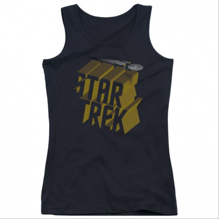 Star Trek 3D Logo Black Juniors Tank Top