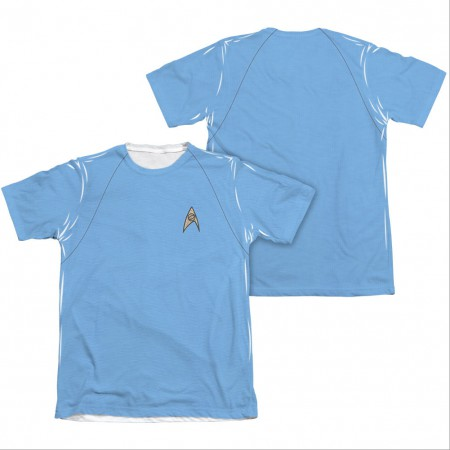 Star Trek TOS Science Two-Sided Costume Blue Sublimation T-Shirt