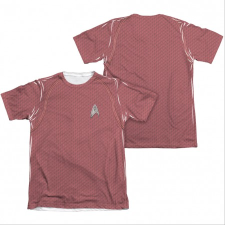 Star Trek Movie Engineering Red Two-Sided Costume Sublimation T-Shirt