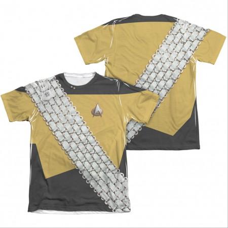 Star Trek TNG Worf Uniform Two-Sided Costume Sublimation T-Shirt