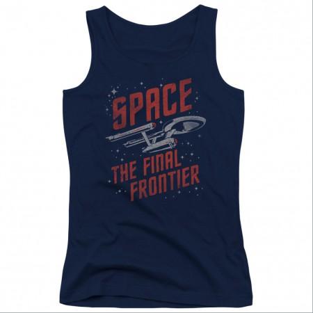 Star Trek Space Travel Blue Juniors Tank Top