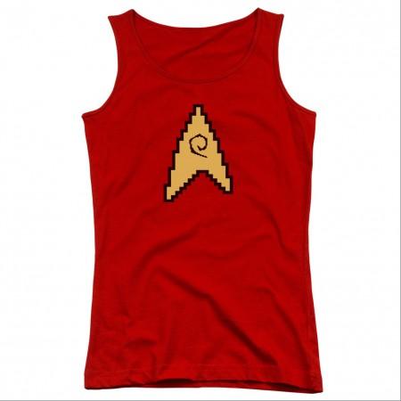 Star Trek 8 Bit Engineering Red Juniors Tank Top