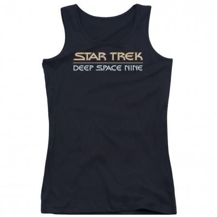Star Trek Deep Space Nine Logo Black Juniors Tank Top