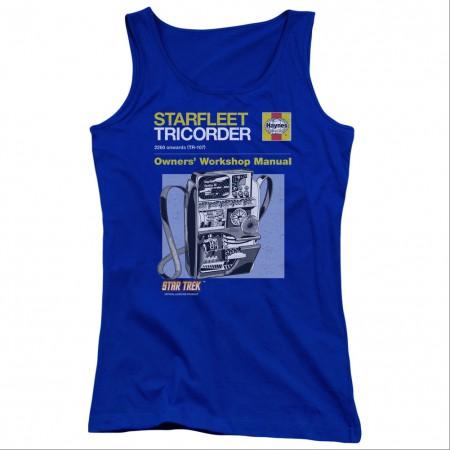 Star Trek Tricorder Manual Blue Juniors Tank Top