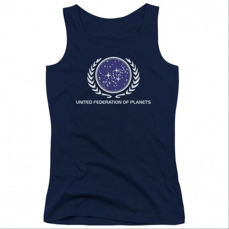 Star Trek United Federation Blue Juniors Tank Top
