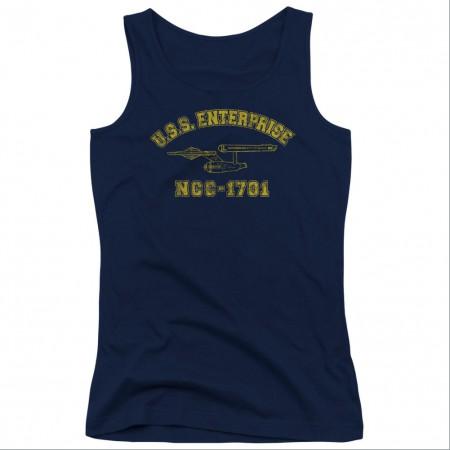 Star Trek Enterprise Athletic Blue Juniors Tank Top