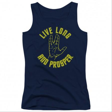 Star Trek Live Long And Prosper Blue Juniors Tank Top