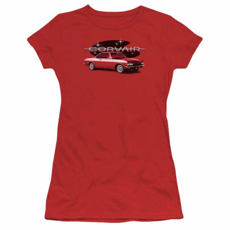 Chevy 65 Corvair Mona Spyda Coupe Red Juniors T-Shirt