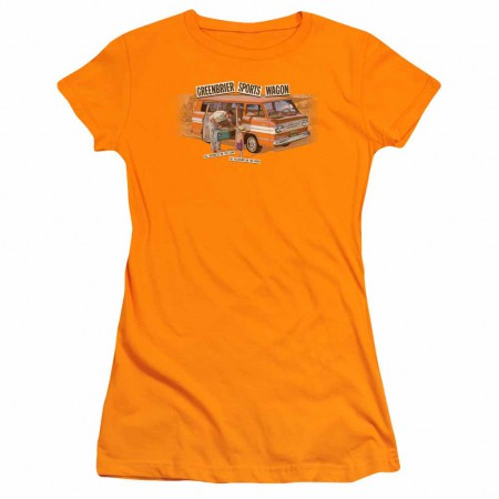 Chevy Greenbrier Corvair Sport Wagon Orange Juniors T-Shirt