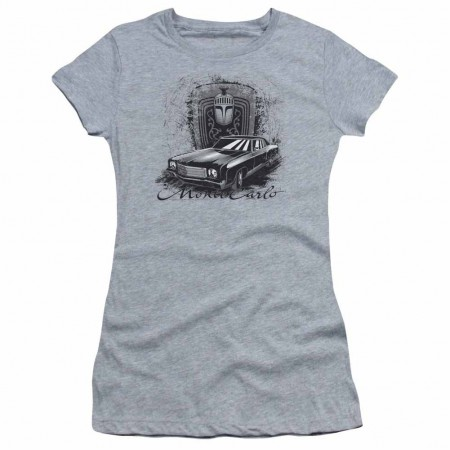 Chevy Monte Carlo Drawing Gray Juniors T-Shirt