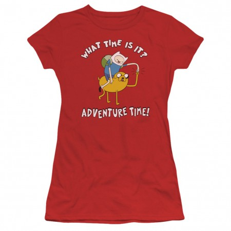 Adventure Time What Time Is It Womens Red Tshirt