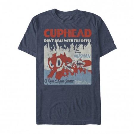 Cuphead and Mugman Run and Gun Blue Tshirt