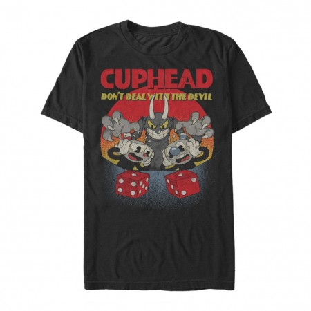 Cuphead and Mugman Dont Deal With The Devil Black Tshirt