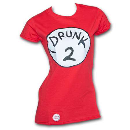 Drunk 2 Bottle Opener Juniors Red T-Shirt