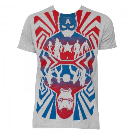 Men's Captain America Movie Opposing Forces Cotton Blend Grey T-Shirt