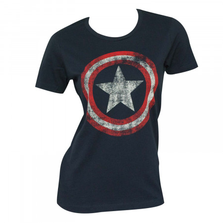 Captain America Distressed Shield Navy Juniors Graphic T-Shirt