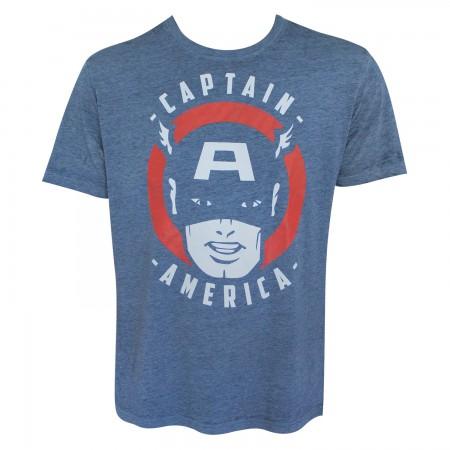 Captain America Men's Blue Vintage T-Shirt