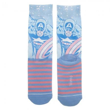Captain America Faded Neon Crew Socks