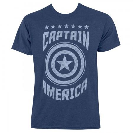 Captain America Men's Heather Blue Varsity T-Shirt