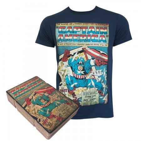 Captain America Men's Navy Blue Corrugated Boxed T-Shirt