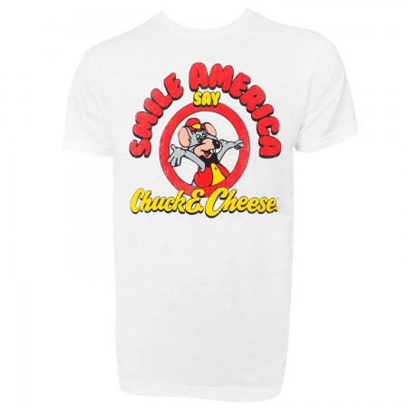 Chuck E. Cheese Smile America Men's White T-Shirt