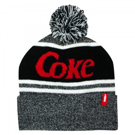 Coke Black And Gray Winter Pom Beanie
