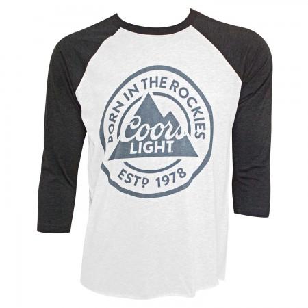 Coors Light Born In The Rockies Men's Raglan Gray T-Shirt