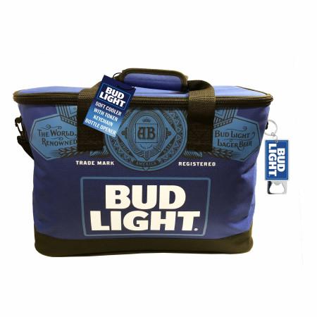 Bud Light Soft Cooler with Bottle Opener Keychain