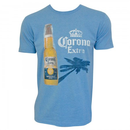 Corona Extra Men's Blue Palm Tree Shadow T-Shirt